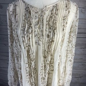 Lucky Brand Pintucked Lace-Up Top Natural Multi M
